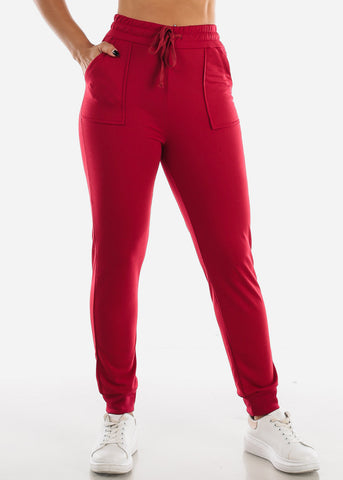 Image of Drawstring Waist Red Jogger Pants