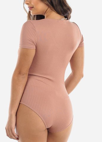Image of Mauve V-Neck Bodysuit