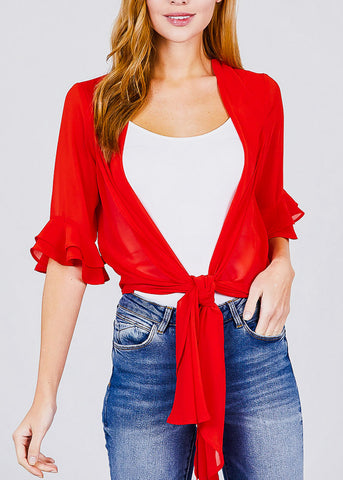 Image of Red Knot Tie Front Woven Cardigan