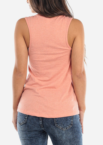 High Neck Peach Tank Top