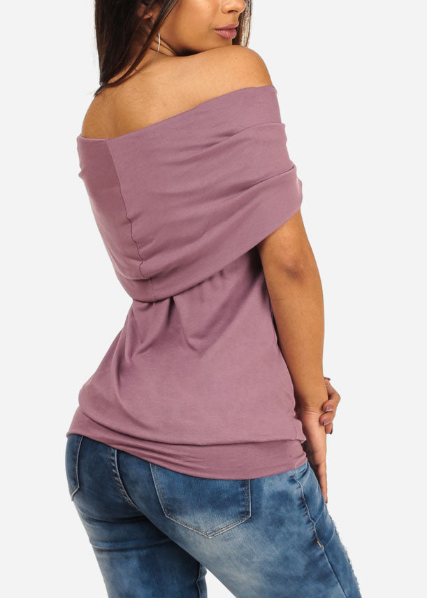 Stylish Casual Off Shoulder Stretchy Mauve Top