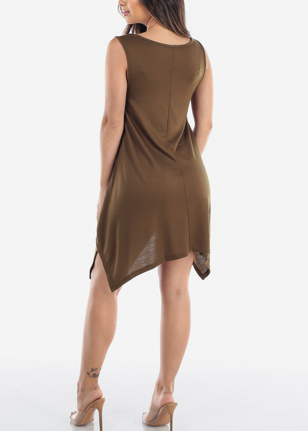 Casual Stretchy Olive Dress