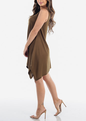 Casual Cute Flowy Olive Stretchy Dress For Women Juniors Ladies