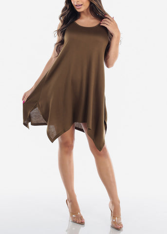 Image of Casual Cute Flowy Olive Stretchy Dress For Women Juniors Ladies