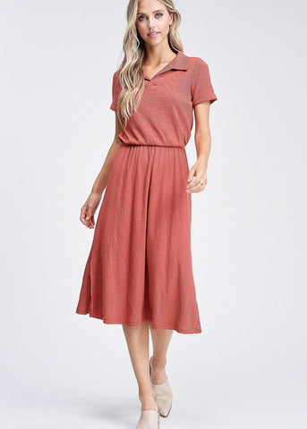 Image of Short Sleeve Stripe Red Dress