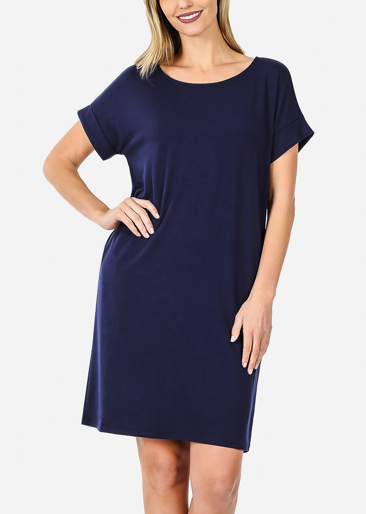 Short Sleeve Navy Dress