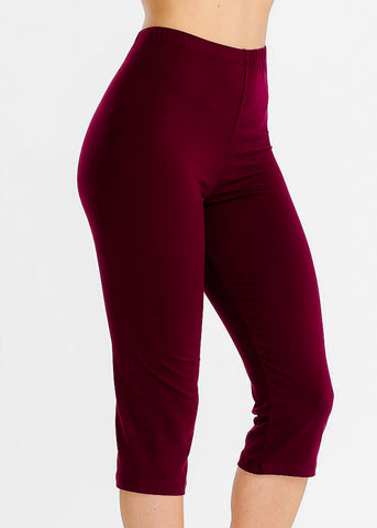 Pull On Burgundy Capri Leggings
