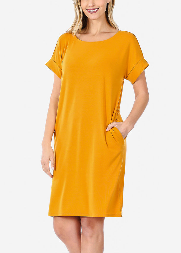 Short Sleeve Mustard Dress