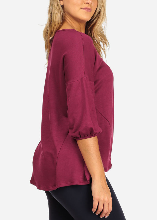 Casual Burgundy Top