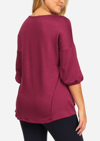 Image of Women's Junior Casual Going Out 3/4 Sleeve Super Stretchy Basic Burgundy Top