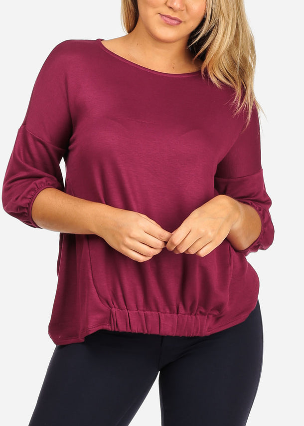 Women's Junior Casual Going Out 3/4 Sleeve Super Stretchy Basic Burgundy Top