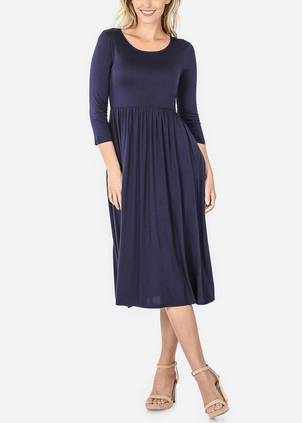 Navy Loose Midi Dress