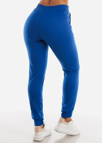 Drawstring Waist Royal Blue Jogger Pants