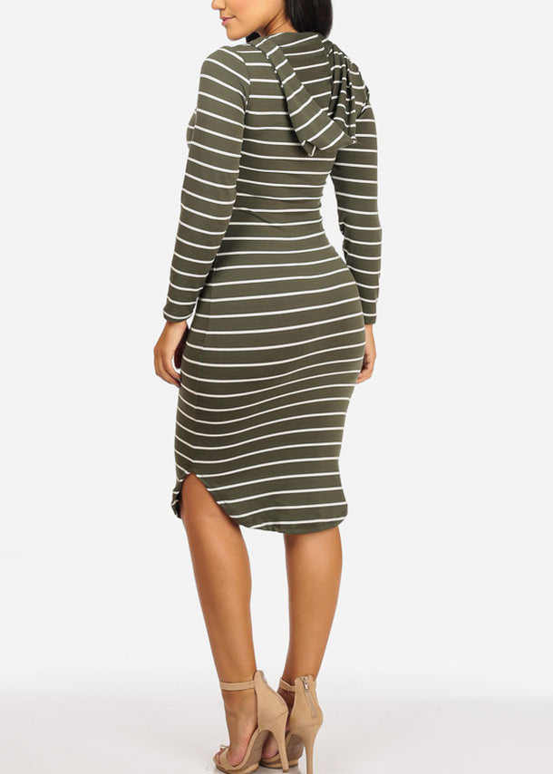 Stripe Bodycon Olive Dress W Hoodie