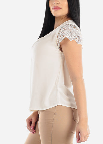 Image of Scallop Lace Sleeve White Blouse