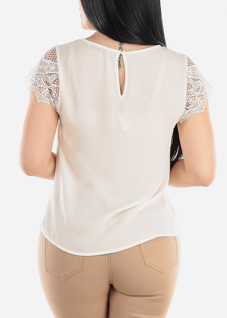 Scallop Lace Sleeve White Blouse