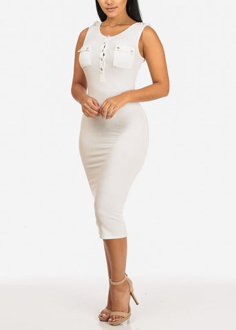 Image of Button Up Midi White Dress
