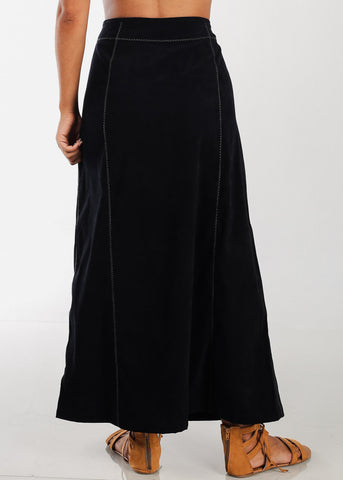 Image of 1 Button Zip Up High Waisted Long Black Maxi Skirt For Women Ladies Junior On Sale Fashionable New 2019