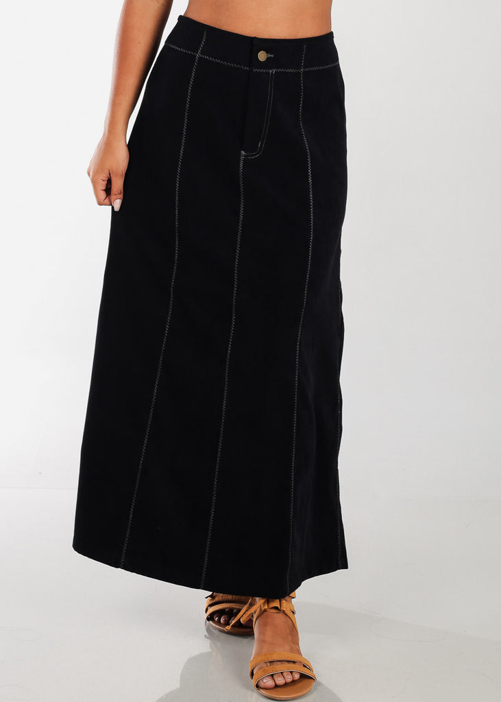 1 Button Zip Up High Waisted Long Black Maxi Skirt For Women Ladies Junior On Sale Fashionable New 2019