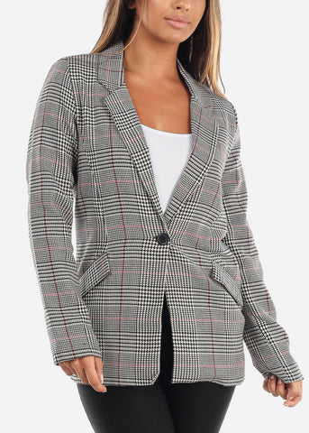 Image of Red Houndstooth Print Blazer