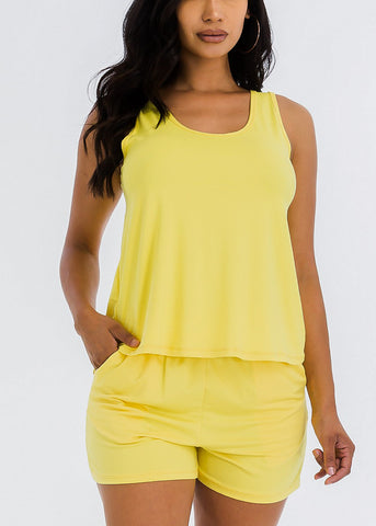 Image of Yellow Tank Top & Shorts (2 PCE SET)
