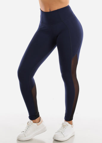 Image of Activewear Mesh Detail Navy Leggings