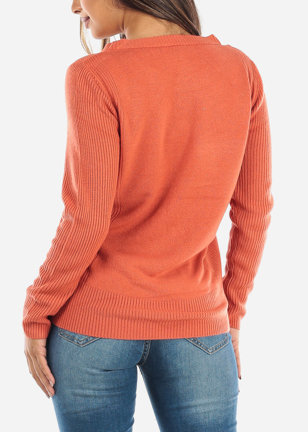Rust Ribbed Round Neck Sweater