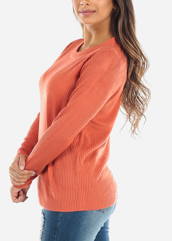 Image of Rust Ribbed Sweater 414BRUST