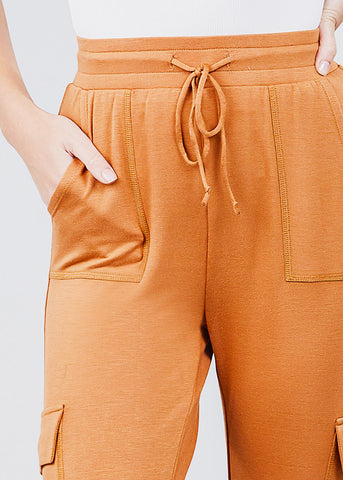 High Waisted Rust Cargo Jogger Pants