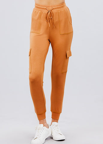 Image of High Waisted Rust Cargo Jogger Pants