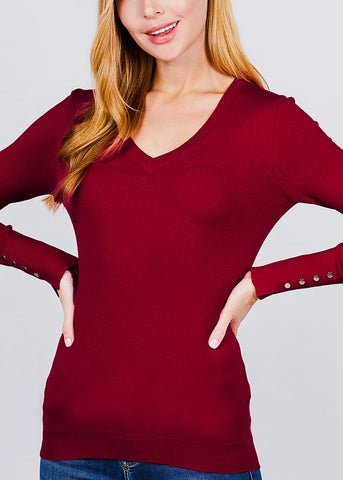 Wine V-Neck Long Sleeve Sweater