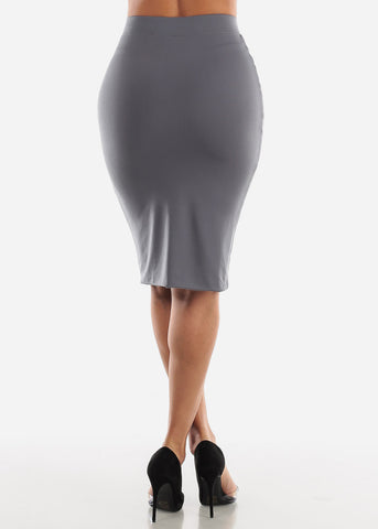 Image of High Waisted Charcoal Pencil Midi Skirt