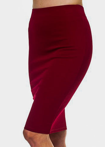 Image of Knee Length Burgundy Skirt