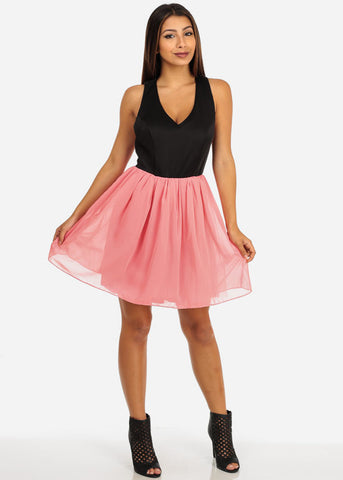 Open Back Flared Tulle Skirt Dress