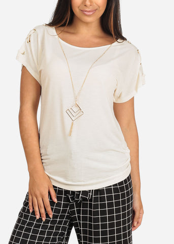 Image of Women's Junior Ladies Stylish Going Out Casual Round Neckline lace Up Detail Sleeves Ivory Dressy Blouse Top