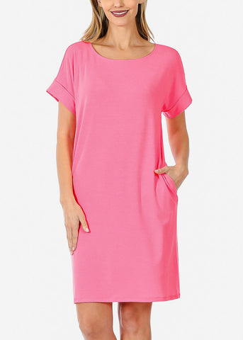 Short Sleeve Pink Dress