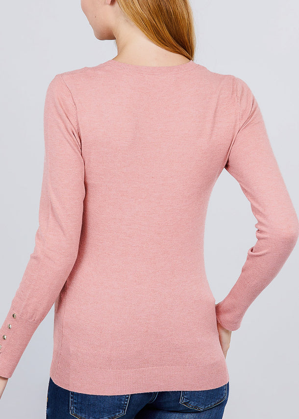 Pink V-Neck Long Sleeve Sweater