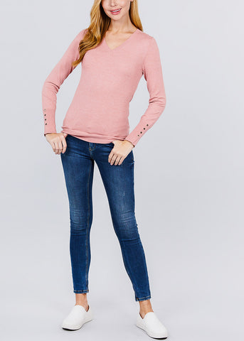 Image of Pink V-Neck Long Sleeve Sweater