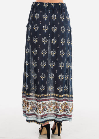 Women's Junior Ladies Cute Must Have Stylish Navy Multi Floral Print High Waisted Maxi Skirt