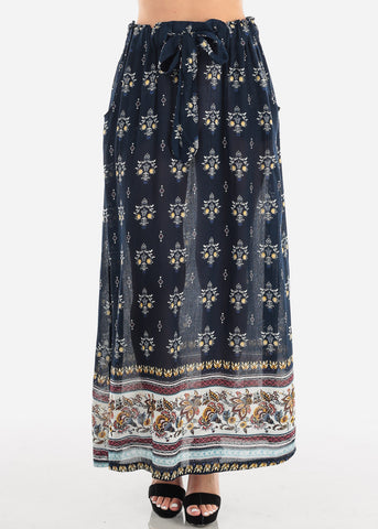 Image of Women's Junior Ladies Cute Must Have Stylish Navy Multi Floral Print High Waisted Maxi Skirt