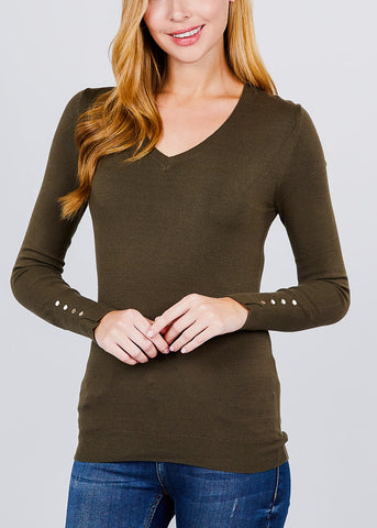Olive V-Neck Long Sleeve Sweater