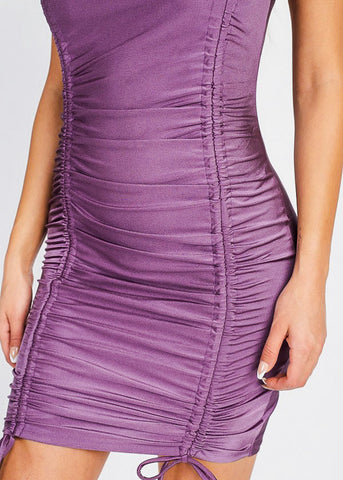 Image of Plum Front Ruched Bodycon Mini Dress
