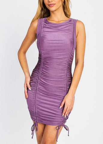 Plum Front Ruched Bodycon Mini Dress