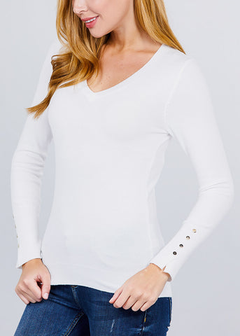 White V-Neck Long Sleeve Sweater