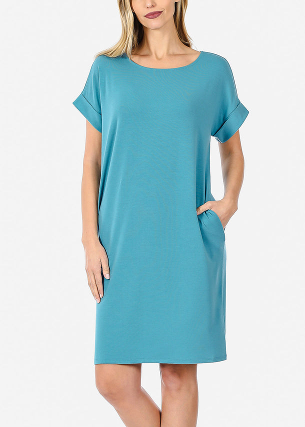 Short Sleeve Teal Dress