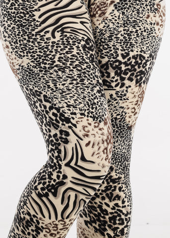 Image of Cream Animal Print Leggings L138CRM
