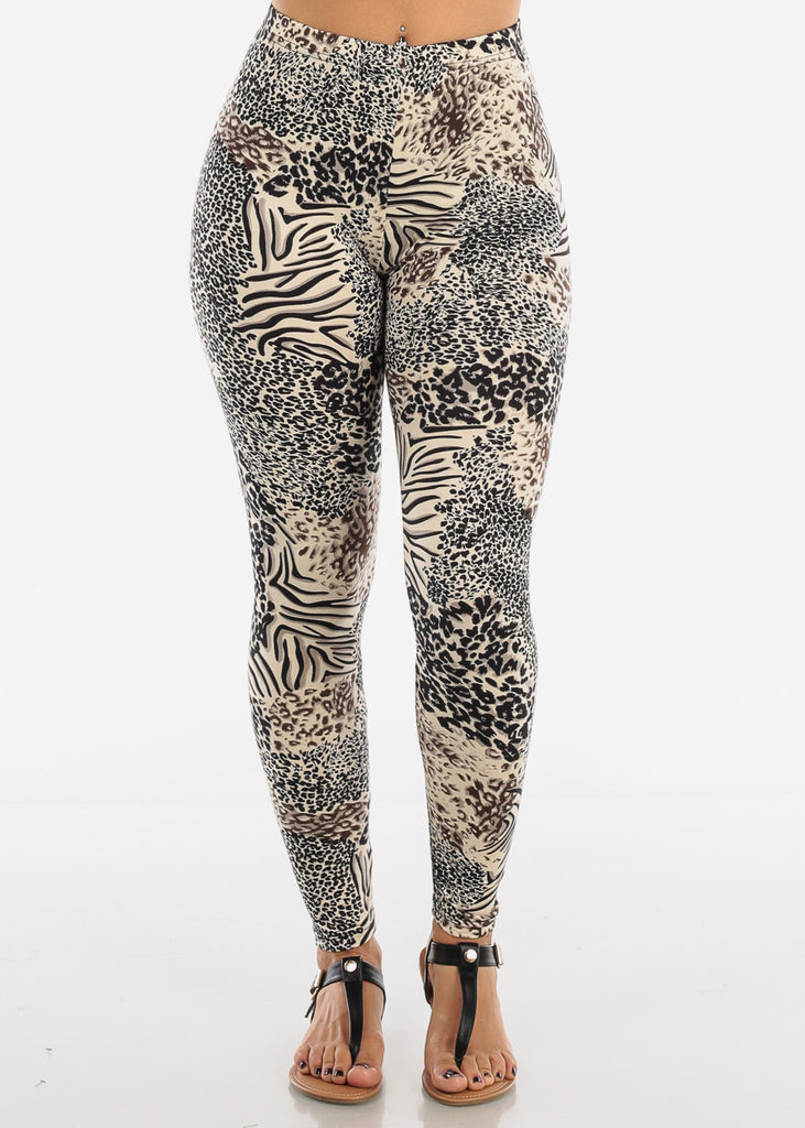 Cream Animal Print Leggings L138CRM