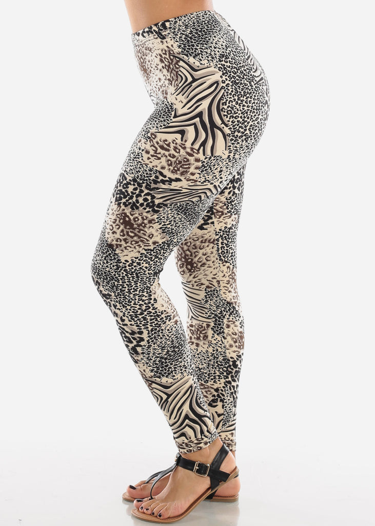 Cheap Cream Animal Print Leggings