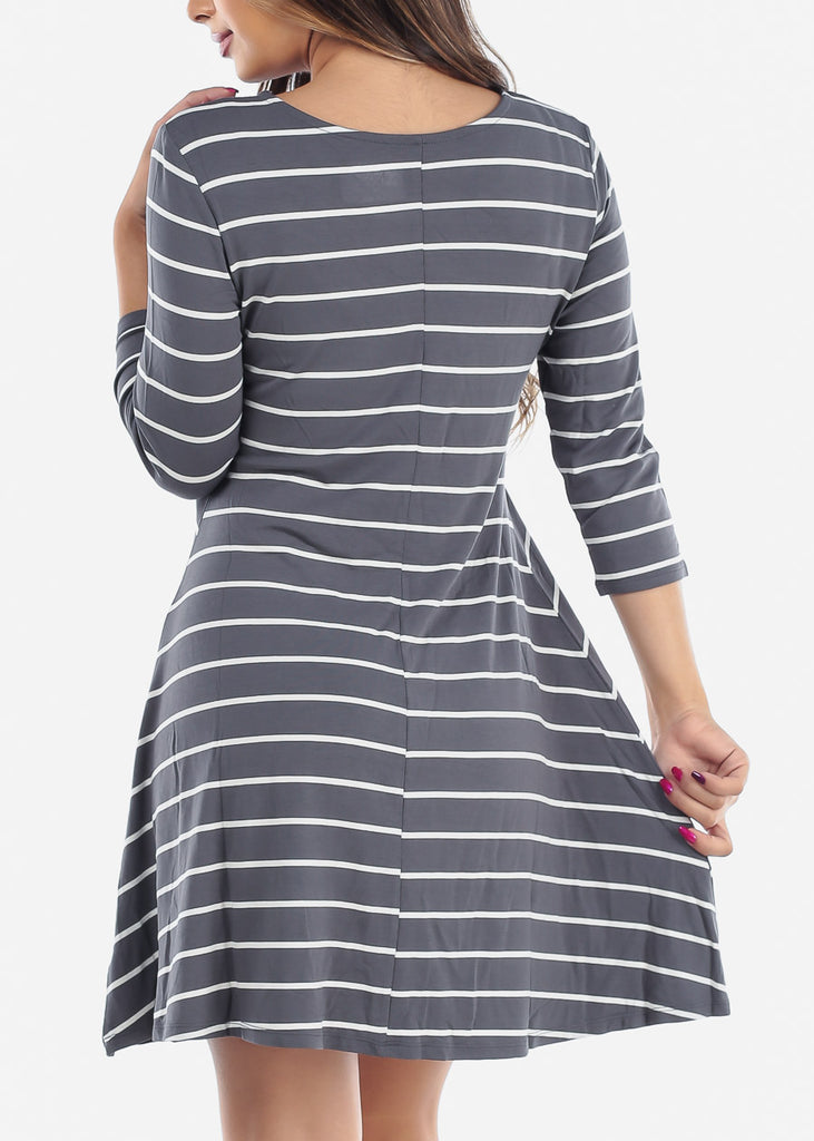 Cute Grey Stripe Flowy Dress For Women Ladies Junior On Sale Clearance Huge Savings