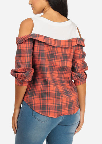 Image of Cold Shoulder Red Plaid Print Top